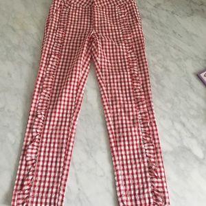 ZARA Girls Red & White Checkered Pants Size 11/12